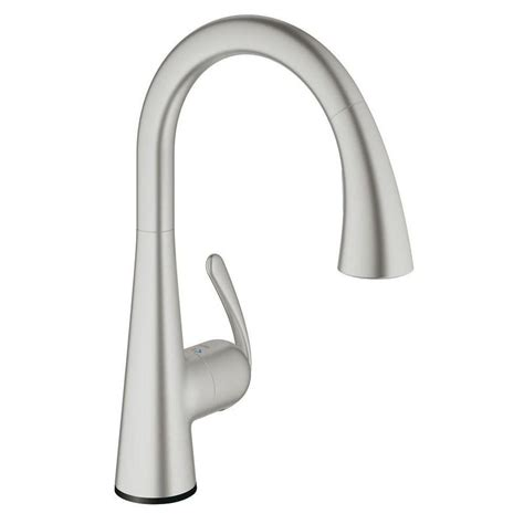 Grohe Kitchen Faucets Lowes by Grohe Ladylux Supersteel 1 Handle Pull Out Kitchen Faucet
