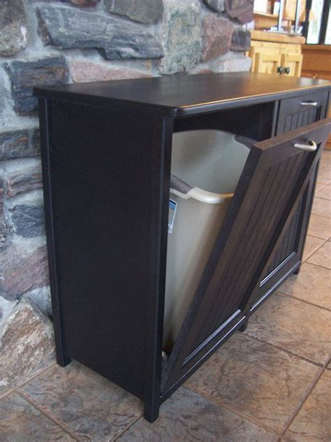 New Black Painted Wood Double Trash Bin Cabinet Garbage