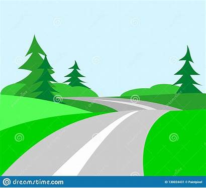 Clipart Road Country Winding Tree Nature Rolling