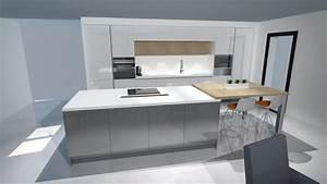 Cuisine grise for Idee deco cuisine avec cuisine blanc et gris anthracite