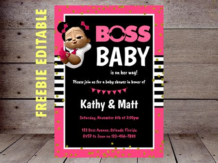 boss baby girl party printable instant