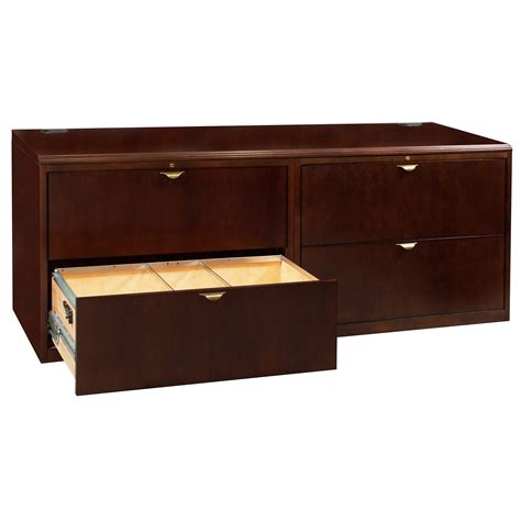 file credenza used veneer 4 drawer lateral file credenza cherry