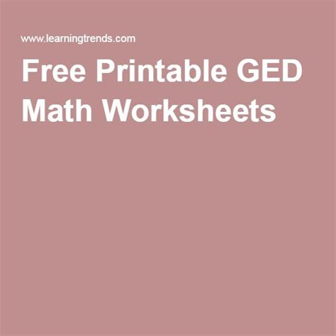 Math Worksheets » Ged Math Worksheets Printable
