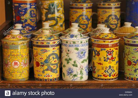 ceramics souvenir shop traditional vases royalty free stock chinese ceramics tea cups souvenir shop in san francisco usa stock photo royalty free image