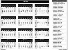 2019 Calendar Excel Templates, Printable PDFs & Images