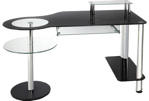 bureau informatique verre noir et acier chrom 233 bureau destock meubles ventes pas cher