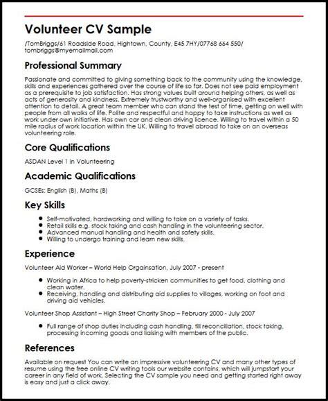 how to write volunteer work on resume 28 images volunteer cv sle myperfectcv