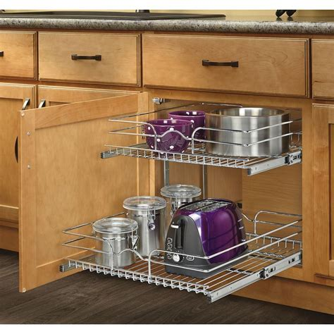 kitchen cabinet pull out shelf plans shop rev a shelf 20 75 in w x 19 in h metal 2 tier pull
