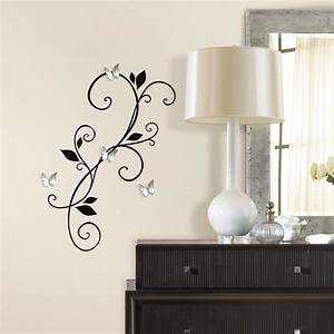 scroll sconce decal with bendable buttefly mirrors With mirror wall decals