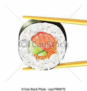 Sushi roll in chopsticks vector illustration. Sushi roll ...