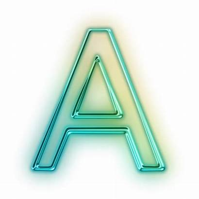 Letter Neon Icon Transparent Glowing Alphabet Aa