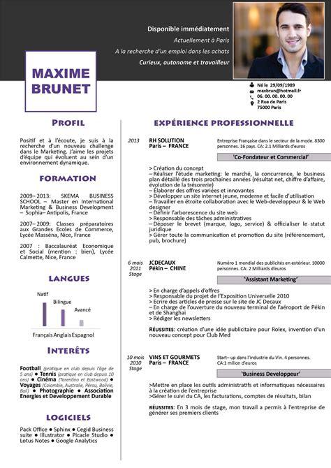 Le Curriculum Vitae Cv Exemple by Modele Curriculum Vitae Original Gratuit