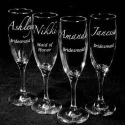 bridesmaid wine glasses 10 personalized chagne flutes wedding set by bradgoodell