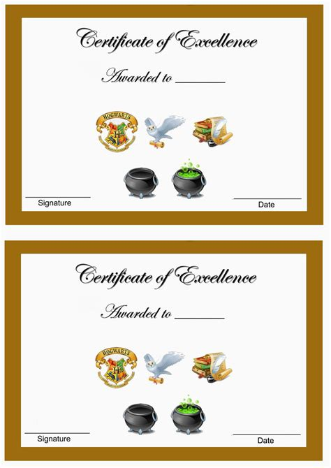 harry potter awards birthday printable