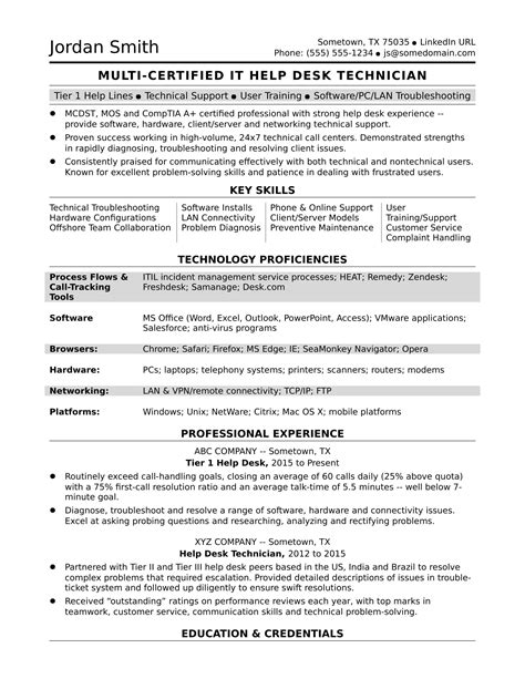 Help A Resume by Sle Resume For A Midlevel It Help Desk Professional