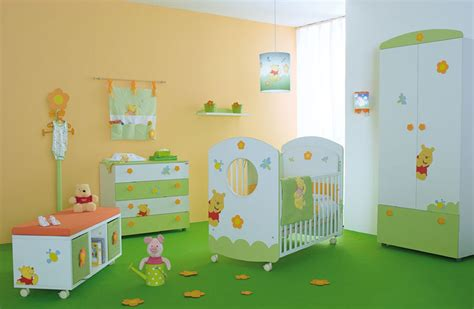 cute baby nursery room with winnie the pooh furniture