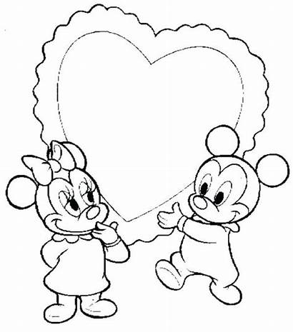 Mickey Minnie Coloring Pages Disney Mouse Kissing