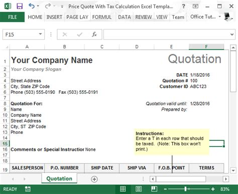 price quote  tax calculation template  excel