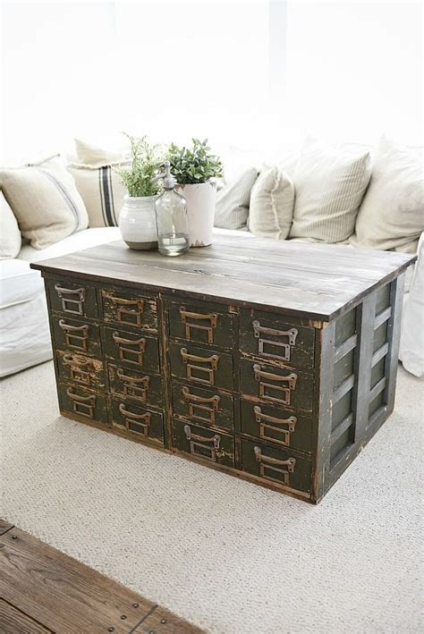 Rustic Green Card Catalog Coffee Table  A Great Source