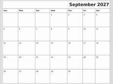 August 2027 Month Calendar