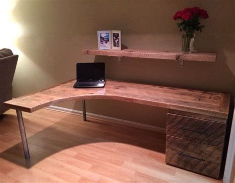 shaped curved desk  drawers  reclaimtofame  etsy rustic furniture rustic desk