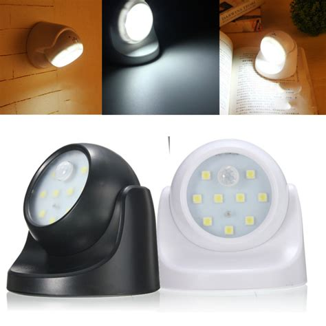motion activated night light 9led black white rotation battery powered motion activated