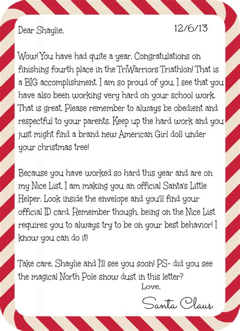 letter to child about santa hear from santa claus receive a letter phone call email 28277