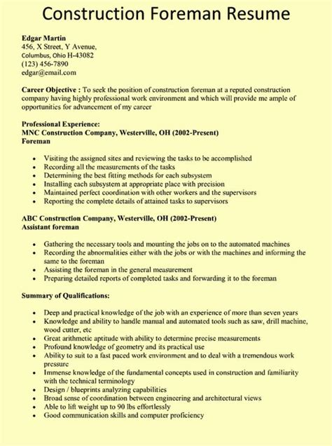construction foreman resume exle chicago