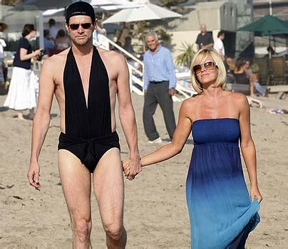 jim carrey swimsuit jim carrey wears jenny mccarthy s swimsuit in borat like