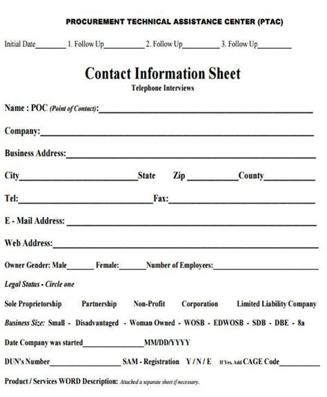 information sheet templates  ms word