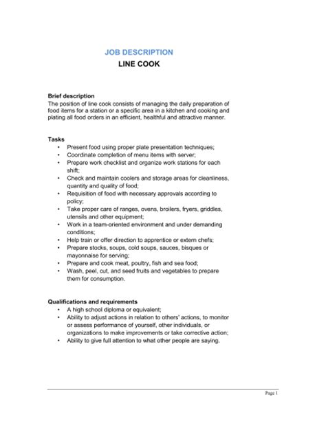 cook description for resume line cook description template sle form biztree