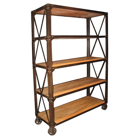 industrial bookcase on wheels chorley industrial rustic metal wood rolling bookcase with