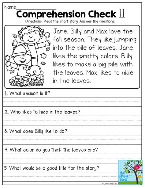 5 Best Images Of Fall Comprehension Worksheets And Printables  Fall Reading Comprehension