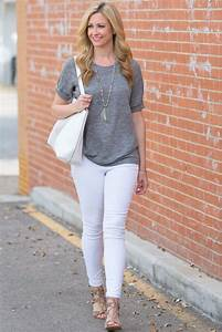 Gray T Shirt and White Jeans - Haute u0026 Humid