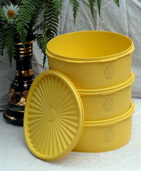 Poppy Canister Tupperware tupperware yellow canister set three servalier by