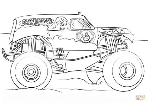 dibujo de grave digger monster truck  colorear dibujos  colorear imprimir gratis