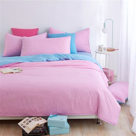 light pink sheets queen home textiles light pink blue color bedding sets 3 4pcs