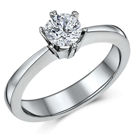 classic titanium 6 prong 0 90ct solitaire engagement ring