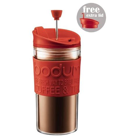 After four minutes, press the plunger down. Bodum Travel Press Set Coffee Maker Mug With Extra Lid Double Wall Plastic 0.35 Litres - Red ...