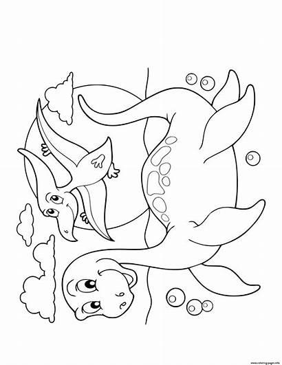 Coloring Dinosaur Plesiosaurus Swimming Cartoon Flying Pages