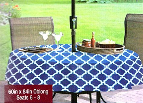 patio table cover with zipper and umbrella hole umbrella with hole zipper vinyl tablecloth lattice blue