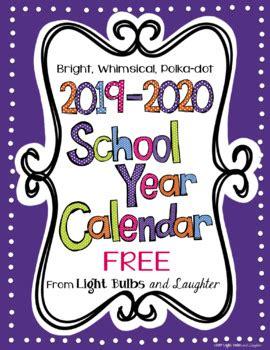 editable bright polka dot monthly calendars tpt