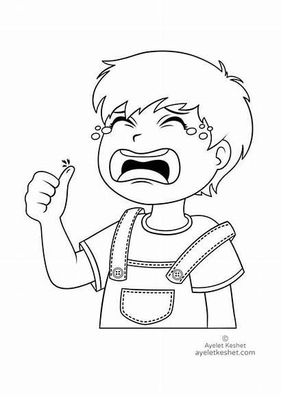 Coloring Crying Feelings Child Sad Keshet Ayelet