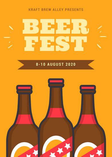 orange  brown bottles beer festival flyer templates