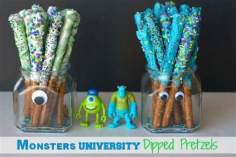monster universty decorations dipped pretzel rods