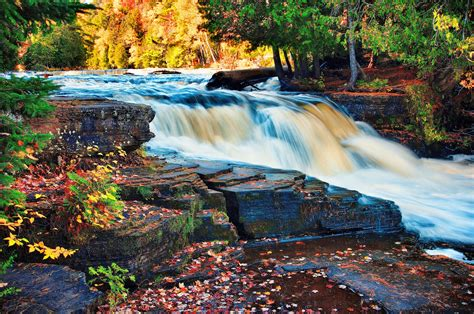 River Fall Waterfall Rocks Landscape Autumn Wallpapers Hd Desktop And Mobile Backgrounds