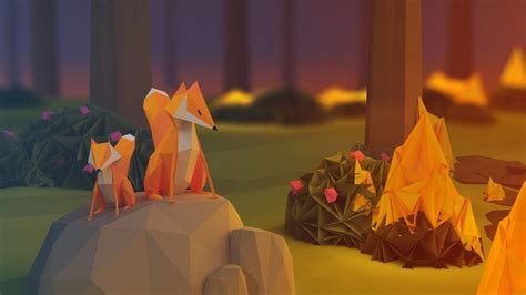 Low Poly Animal Wallpaper - anime paper poly minimalism nature animals fox