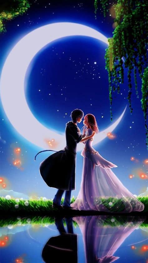 girl  boy  moonlight  wallpaper romantic wallpaper