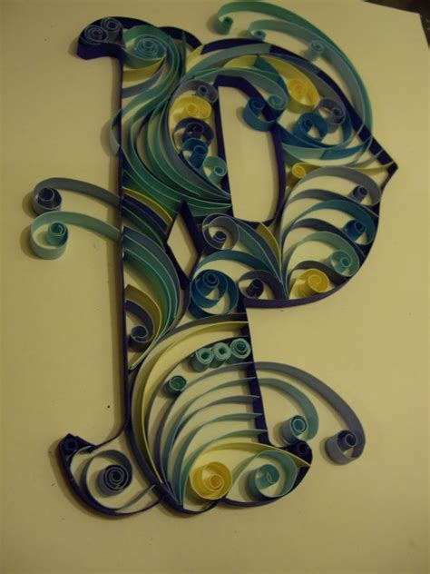 paper quilled monograms letter p