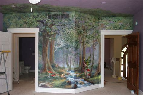 murals enchanted forest  girls room ideas
